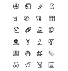 Education line icons 3 vector