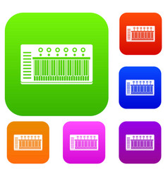Electronic synth set color collection vector