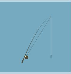 fishing rod flat designed isolated on blue vector image