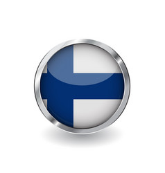 flag of finland button with metal frame and vector image