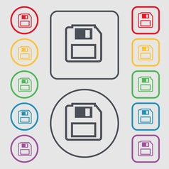 floppy disk icon sign symbol on the Round and vector image