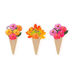 Flowers bouquet in a cone background vector
