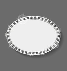 frame made silver bulbs dressing mirror shape vector image