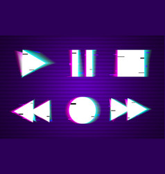 Glitch set of buttons minimal design play vector