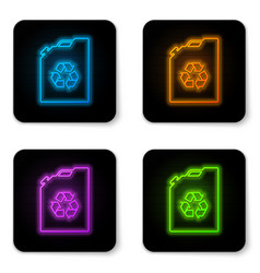 glowing neon eco fuel canister icon isolated on vector image