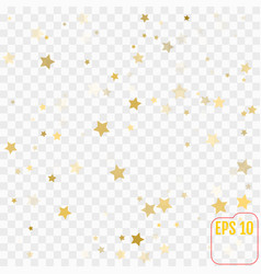 gold confetti gold stars on transparent background vector image