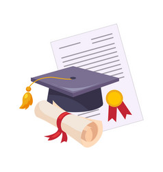 Graduation hat and diploma set of school and vector