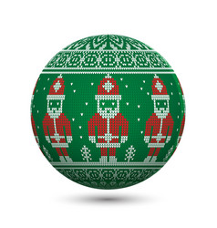 green knitted christmas ball isolated on white vector image