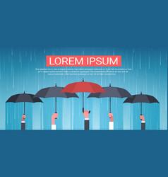 Group of hands holding umbrella unger huge rain vector