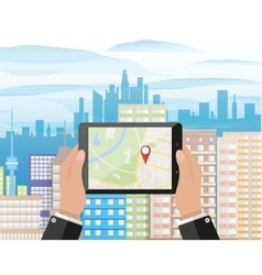 Hand holds smartphone with navigation app vector image