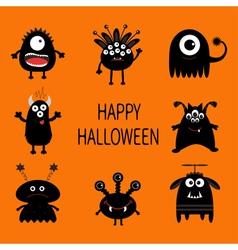 Happy Halloween card Black monster set Cute vector