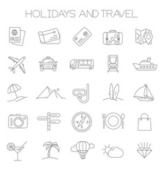 holidays and travel icons vector image