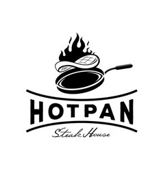 Hot pan steak house logo vector