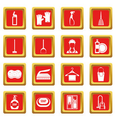 House cleaning icons set red vector
