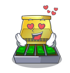 In love cash register with lcd display cartoon vector
