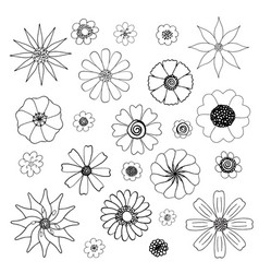 isolated black and white floral doodles set vector image