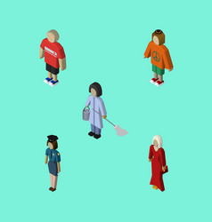 isometric person set of female guy lady and vector image