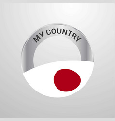 japan my country flag badge vector image