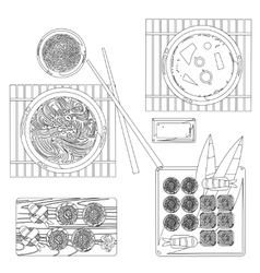 Japanese food contour drawing in black and vector