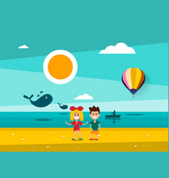 kids on beach with sunset landscape on background vector image