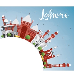 Lahore Skyline with Color Landmarks Blue Sky vector image