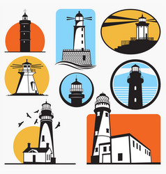 Lighthouse new silhouettes vector