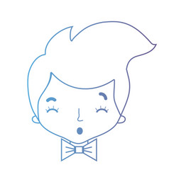 line avatar man head with hairstyle and bowtie vector image