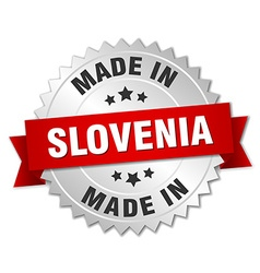 Made in Slovenia silver badge with red ribbon vector