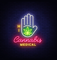 Marijuana medical neon sign and logo graphic vector