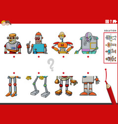 Match halves of pictures with robots educational vector
