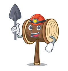 Miner mallet mascot cartoon style vector