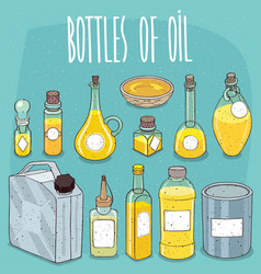 mockup set containers of oil or yellow liquid vector image