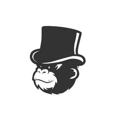 Monkey chimp wearing bucket hat logo vector
