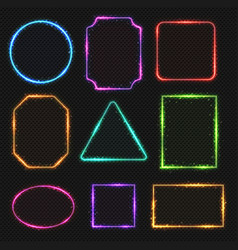 Multicolored neon border frames simple vector