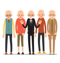 Old man older man character in various poses man vector