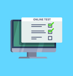 online test questionnaire survey form on pc vector image