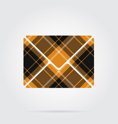 Orange black tartan icon - mailing envelope vector