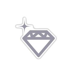 Paper sticker on white background diamond vector