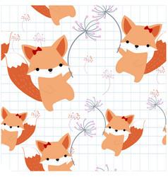 Pattern seamless cute foxy fox in the sky vector