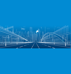 Pedestrian bridge across the highway vector