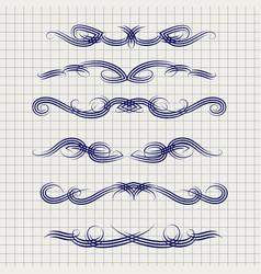 Pen decorative filigree swirled ornaments vector