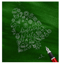 pen line drawing christmas tree toy bell green vector image