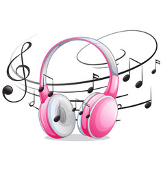 Pink headphone with music notes in background vector