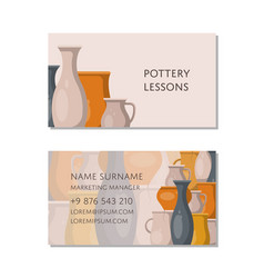Pottery lessons business card template vector