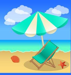 rest on the beach beach umbrella sun lounger sand vector image
