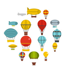 retro balloons aircraft icons set in flat style vector image