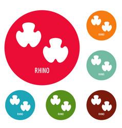 rhino step icons circle set vector image