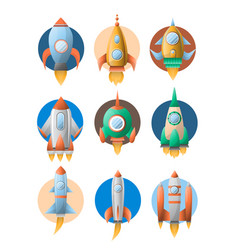 Rockets spaceship flat cartoon icons vector