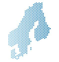 Scandinavia map hexagon abstraction vector