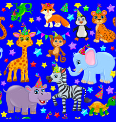 Seamless animal pattern stars birthday cone vector